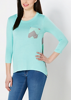 Mint Chevron Pocket Top