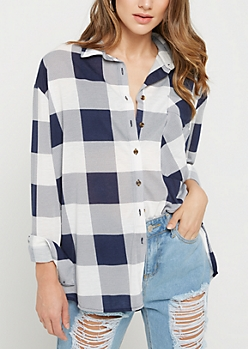 Navy Buffalo Plaid Boyfriend Shirt