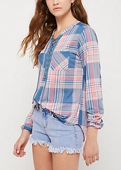 Pink & Blue Plaid Lace Up Shirt