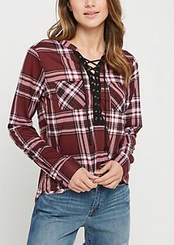 Burgundy & Black Plaid Lace Up Shirt