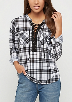 Black & White Plaid Lace Up Shirt