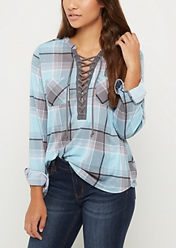Light Blue Plaid Lace Up Shirt