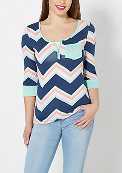 Navy Chevron Zip Yoke Top