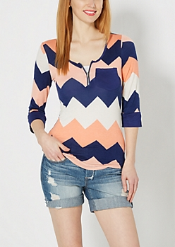 Coral Chevron Zip Yoke Top