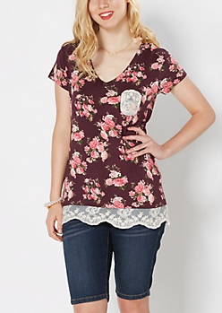 Pink Romance Lace Trimmed Tee