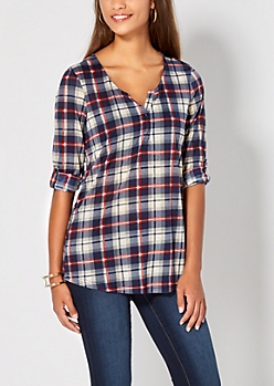 Navy Plaid Henley Top