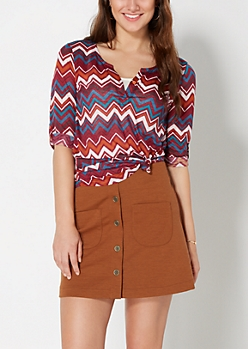Burgundy Chevron Henley Top