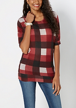 Red Brushed Buffalo Plaid Dolman Top