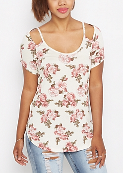 Ivory Rosy Cut-Out Tee