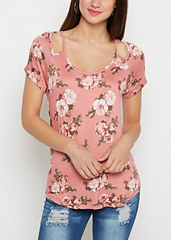 Pink Rosy Cut-Out Tee