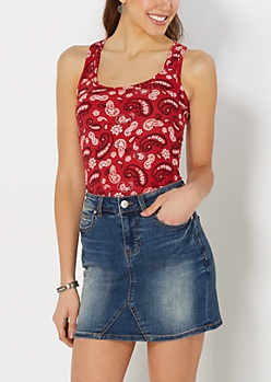 Red Floral Paisley Brushed Tank