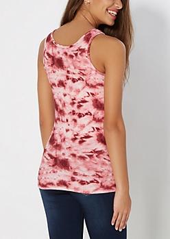 Pink Tie Dye Brushed Tank Top