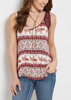 Purple Elephant Crochet High-Low Swing Tank