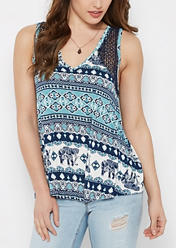 Blue Elephant Crochet High-Low Swing Tank