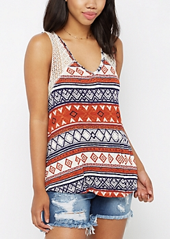Burnt Orange Tribal Crochet High-Low Swing Tank