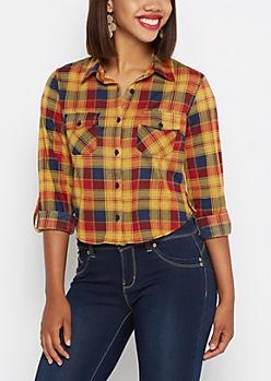 Mustard Plaid Knit Skimmer Shirt