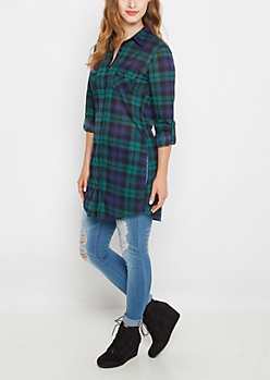 Plaid Long Length Hem Button Down