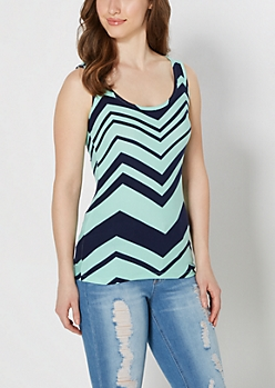 Mint Soft Brushed Chevron Tank