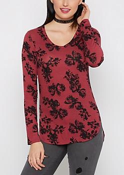 Purple Rosy Soft Knit Tunic Top