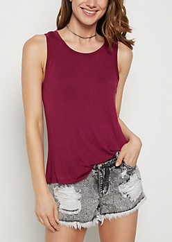 Purple Crewneck Tank Top