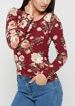 Burgundy Floral Soft Brushed Shirt