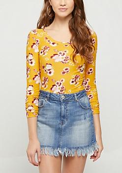 Mustard Floral Soft Brushed Shirt