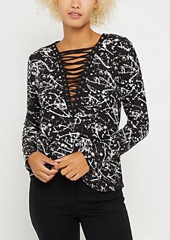Paint Splattered Lace Up Soft Brushed Shirt
