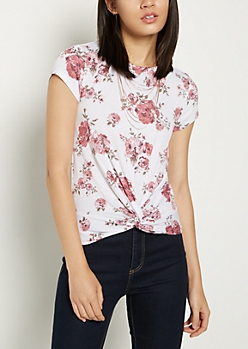 Floral Knotted Crop Tee