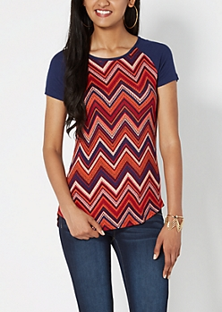 Burnt Orange Dotted Chevron Raglan Tee