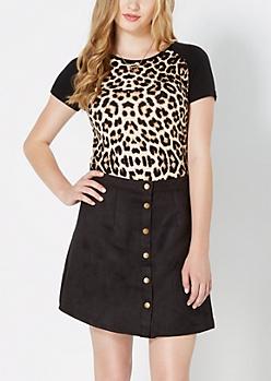 Cheetah Raglan Ribbed Knit Tee