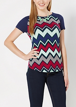 Multi-Chevron Ribbed Raglan Tee