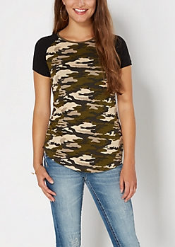 Camo Raglan Ribbed Knit Tee