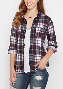 Navy & Burgundy Plaid Knit Shirt