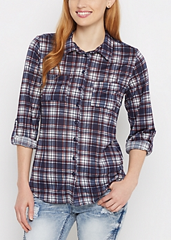 Navy & Red Plaid Tab Sleeve Knit Shirt