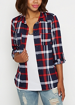 Navy Double Pocket Plaid Button Down