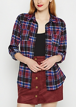 Purple & Blue Plaid Tab Sleeve Knit Shirt