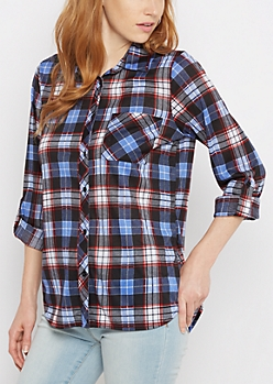 Royal & Red Plaid Side Slit Knit Shirt