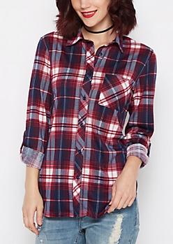 Burgundy & Navy Plaid Knit Shirt