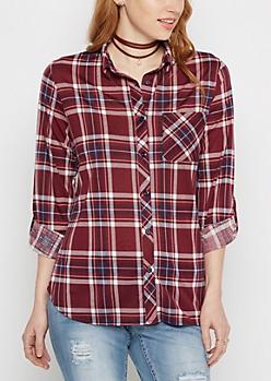 Burgundy Plaid Knit Shirt
