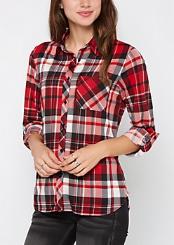 Red & Black Plaid Tab Sleeve Knit Shirt