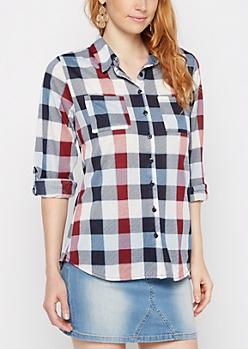 Americana Plaid Double Pocket Shirt
