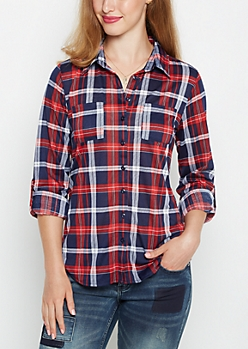 Tartan Plaid Double Pocket Shirt