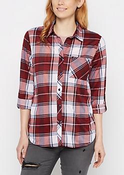 Burgundy Plaid Pocket Shirt