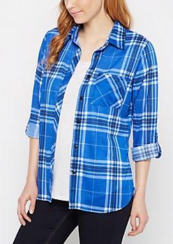 Royal Blue Plaid Double Pocket Shirt