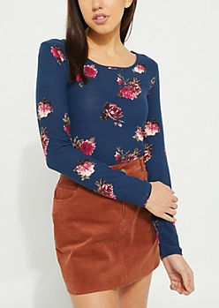 Navy Long Sleeved Floral Top