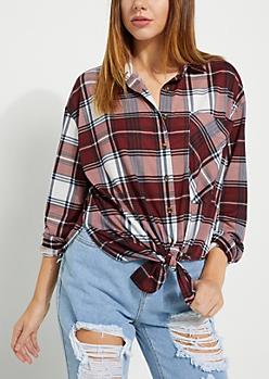 Burgundy Plaid Boyfriend Shirt