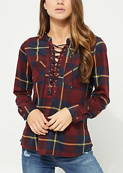 Burgundy Plaid Lace Up Flannel Top
