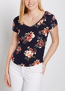Navy Floral V Neck Soft Brushed Tee