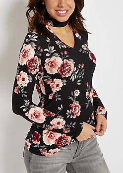 Black & Pink Floral Keyhole Shirt