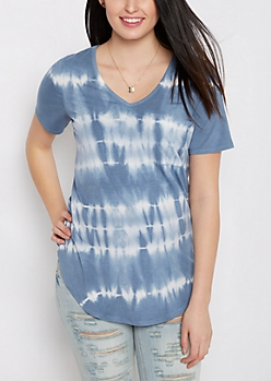 Blue Tie Dye Chest Pocket Shirttail Tee
